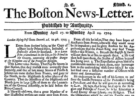 Published by Authority: The Boston News Letter, 1704 1776 | Readex