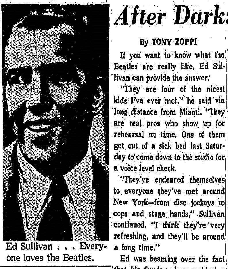 (From the Dallas Morning News, 13 February 1964. Click to open full article.)