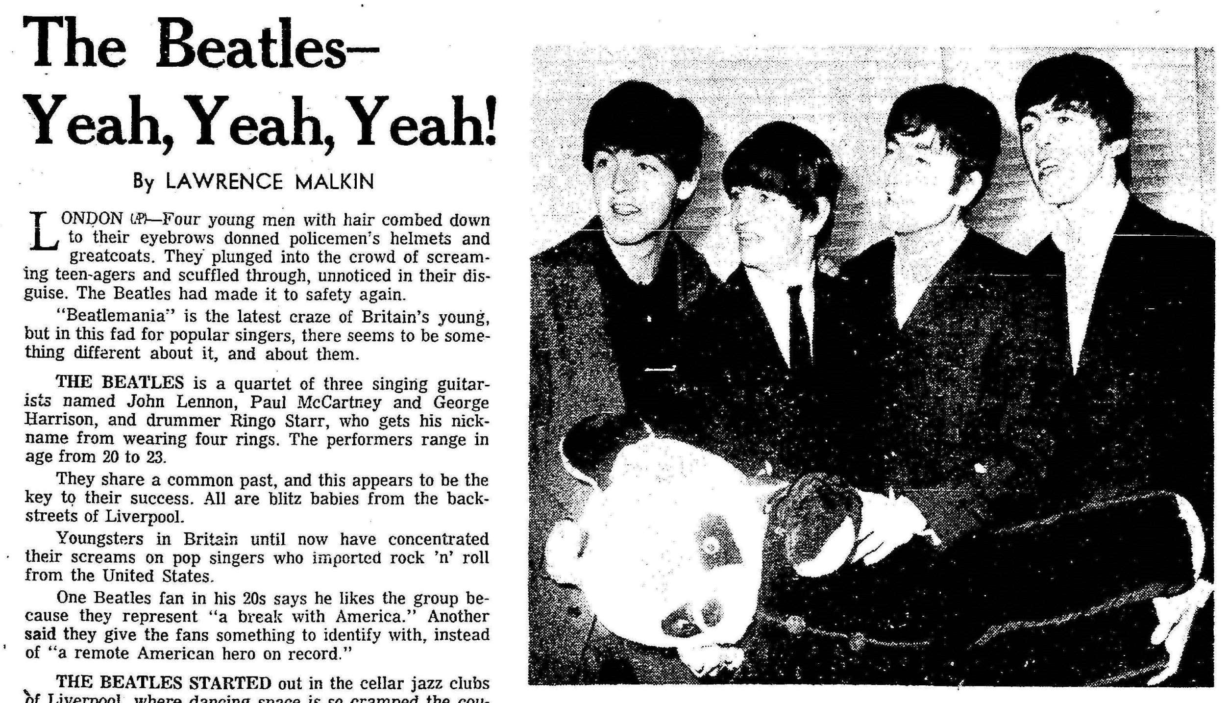 (From the Cleveland Plain Dealer, 29 December 1963. Click to open full article.)