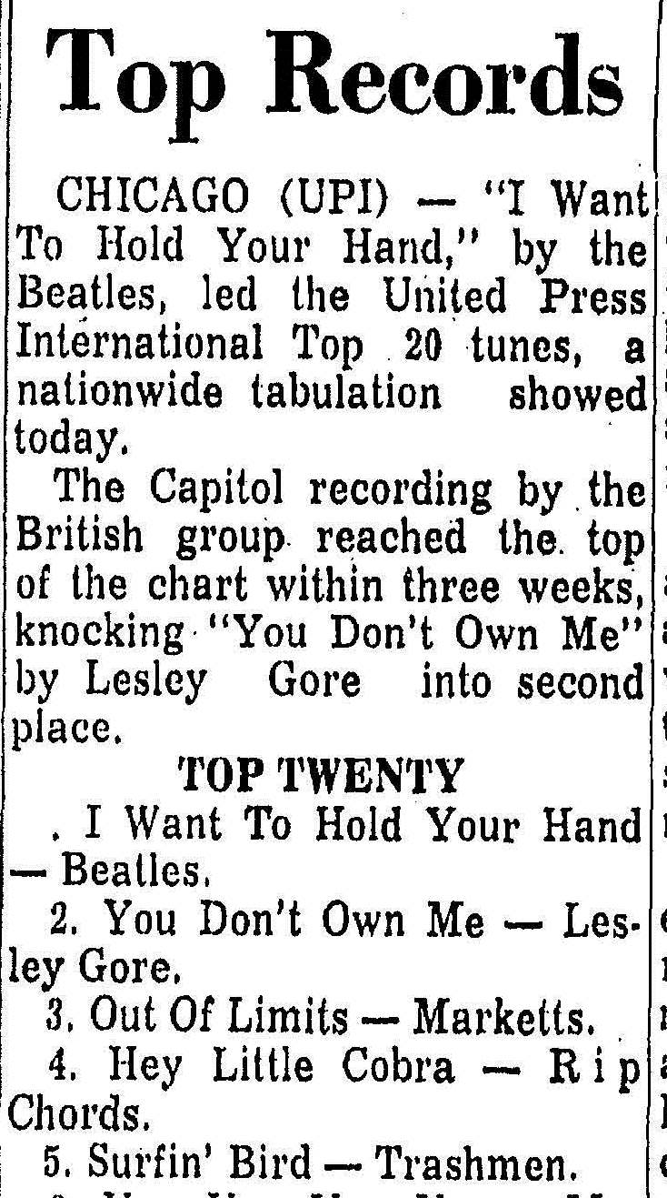 (From the Trenton Sunday Times Advertiser, 2 February 1964. Click to open full article.)