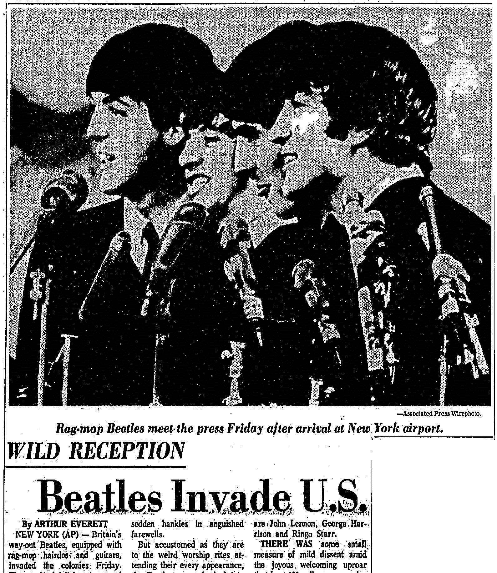 (From the Dallas Morning News, 8 February 1964. Click to open full article.)