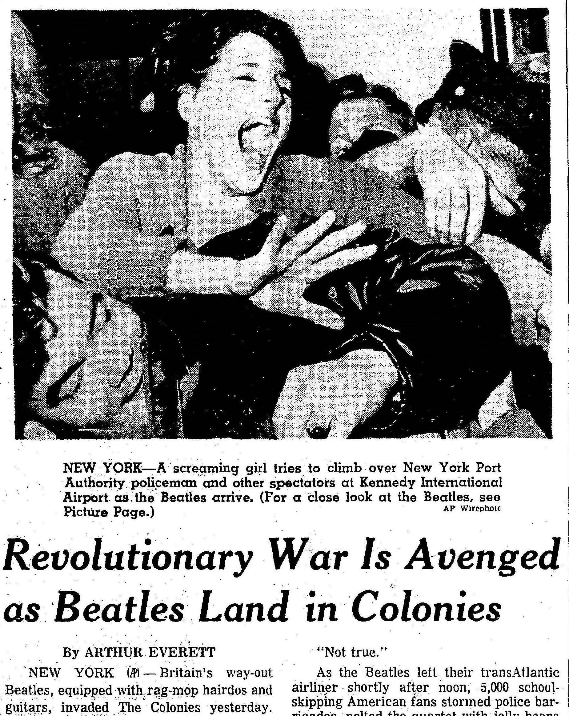 (From the Cleveland Plain Dealer, 8 February 1964. Click to open full article.)