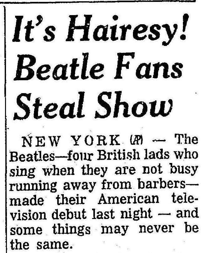 (From the Cleveland Plain Dealer, 10 February 1964. Click to open full article.)