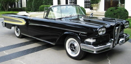 Front view of a beautiful 1958 Edsel Citation convertible.