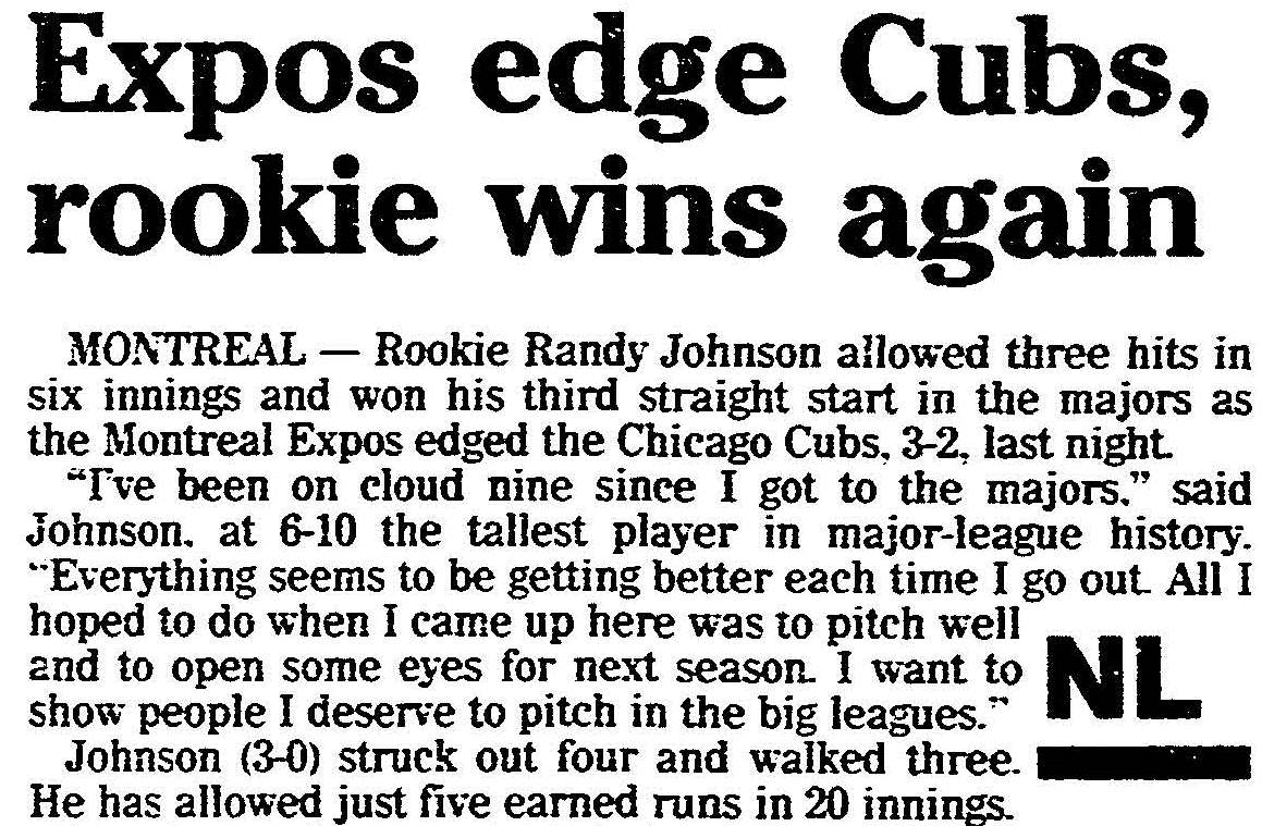Article from the Cleveland Plain Dealer during Randy Johnson's rookie year (Sept. 27, 1988)