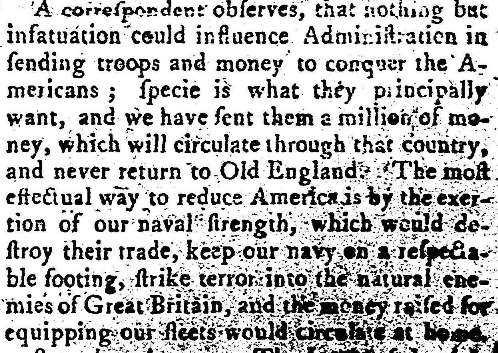 From the Kingston Journal and Jamaica Universal Museum (26 Oct 1776)