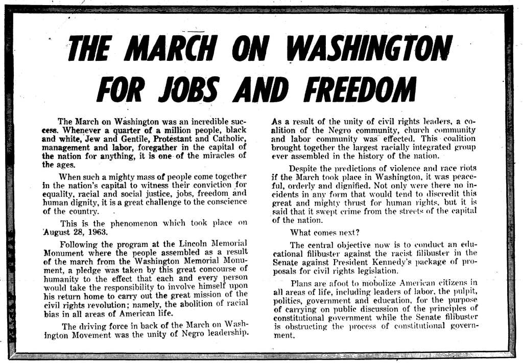 From The Black Worker (Oct. 1, 1963). Source: African American Periodicals, 1825-1995