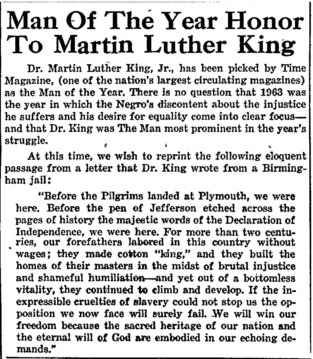 the letter from birmingham jail martin luther king jr and the  from african american newspapers 1827 1998 click to open in pdf