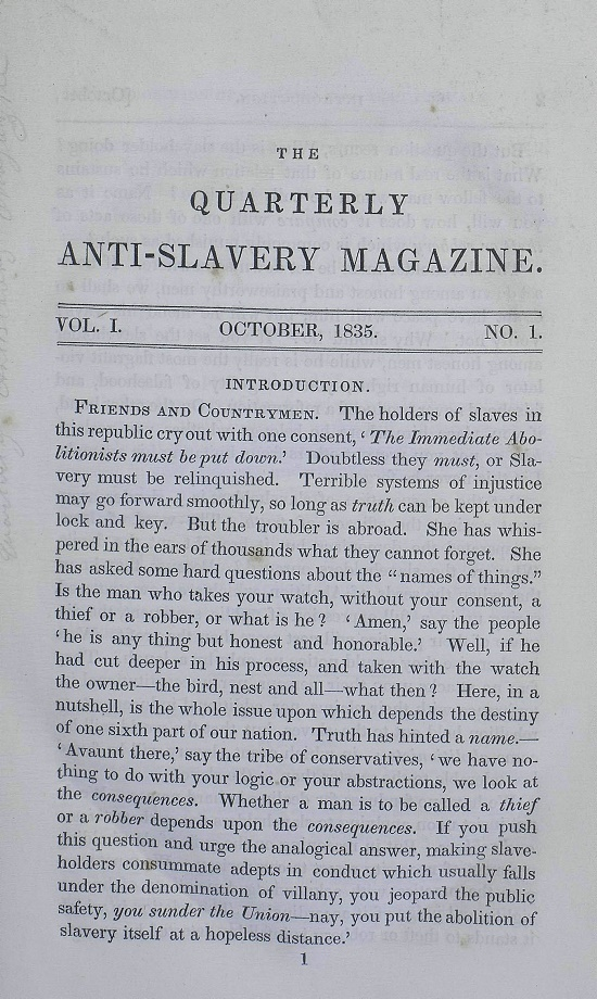 quarterly anti-slavery magazine Vol 1 No 1.jpg