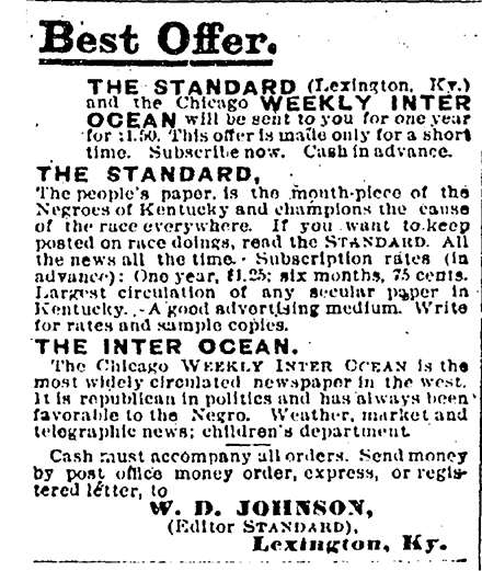 Advertisement in Cleveland Gazette, 04/20/1895, p.3