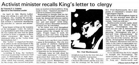 letter from birmingham jail pdf the letter from birmingham martin luther king jr 22844 | National Leader 04.28.1983 Page 1