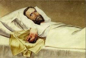 Painting by Edward Stauch (1830-?) of a wounded Civil War soldier