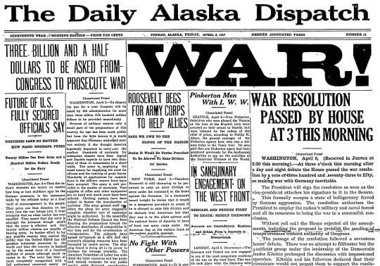 The United States Enters World War I  Newspaper Front Pages From