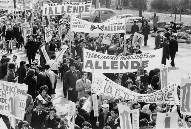 Marchers for Allende, 1964. Photograph by Jim Wallace