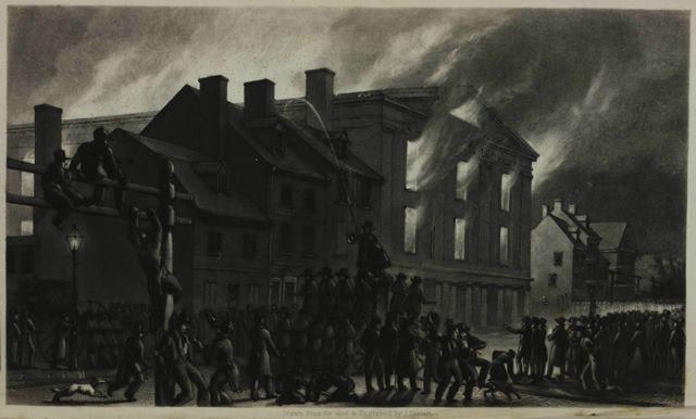 Pennsylvania Hall in flames