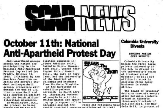 SCAR News Student Coalition Against Apartheid and Racism 11 Oct 1985.jpg