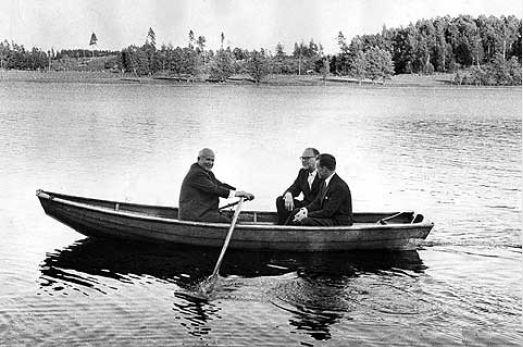 Nikita Khrushchev with the Swedish Prime Minister Tage Erlander in a rowing boat, 1964 by Arne Schweitz/Scanpix